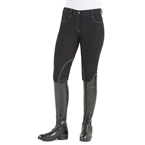 - Ovation Women's Euro Melange Zip Front Knee Patch Cotton Breeches, Black, 28 Regular