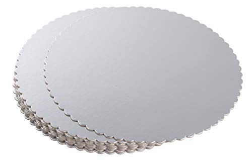 Round Cake Boards - 12-Pack Cardboard Scalloped Cake Circle Base, 10-Inch Diameter, -