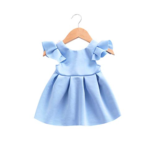 VADOLY Lace Backless Princess Sundress Summer Toddler Girl Party Wedding Bow Ruffled Dress
