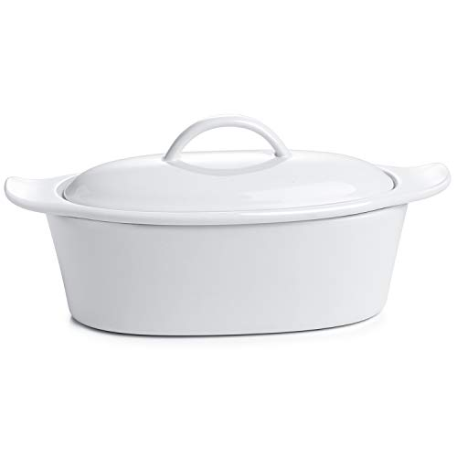 Butter Boat, French Butter Dish with Water, Porcelain - Fresh Soft Butter without Refrigeration, White - Better Butter & Beyond