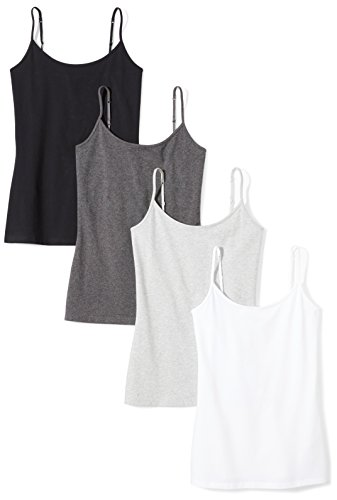 Amazon Essentials Women's 4-Pack Camisole, Black/White/Charcoal Heather/Light Grey Heather, Medium