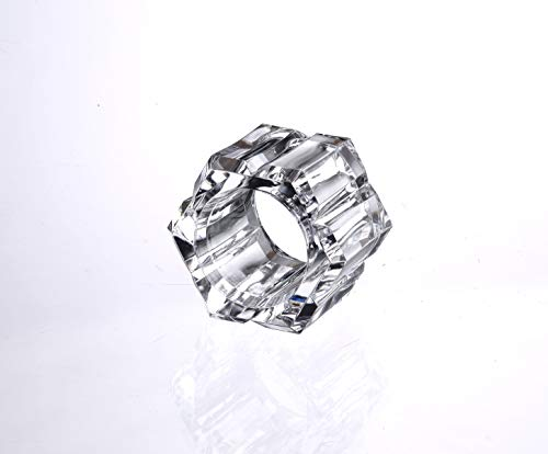 - Huang Acrylic Lucite Set of 4 Octagon Faceted Napkin Rings