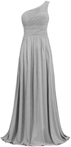 Chiffon Damen Purple One Shoulder Abendkleider Grey Brautjungferkleider Lang Kleider Ballkleider Fanciest 5Fqxw5