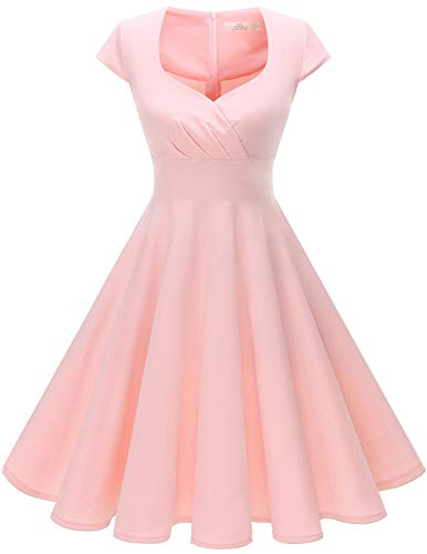 Homrain Women's 1950s Retro Vintage Cap Sleeve Rockabilly Swing Dress Cocktail Dresses Blush M ()
