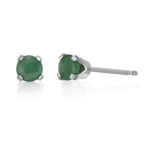 .24 CT Round 3MM Green Emerald 14K White Gold Stud Birthstone Earrings ()