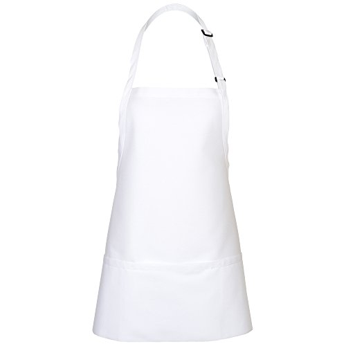 Length Bib Apron (Fame Adult's 3 Pocket Bib Apron-White-O/S)