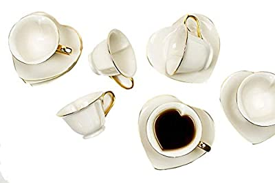 Tea and Coffee Cups with Saucers (Set of 6) by Classic Coffee & Tea|Charming, Inside Out Cups & Heart-Shaped Saucers|Fine Porcelain In Cream with Gold Plated Ends & Handles|Great Gift Idea|6.5 oz