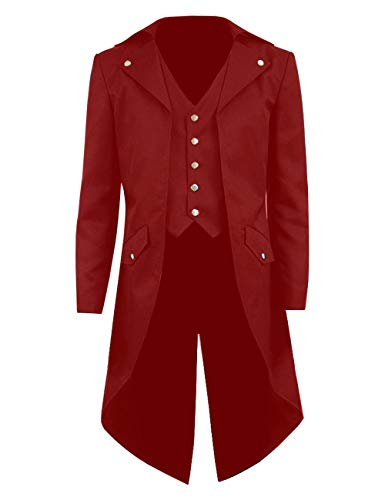 Kids Boys Steampunk Jacket Cosplay Tailcoat Gothic Long Coat with Tails(Five Buttons) (Boys 10, Red)]()