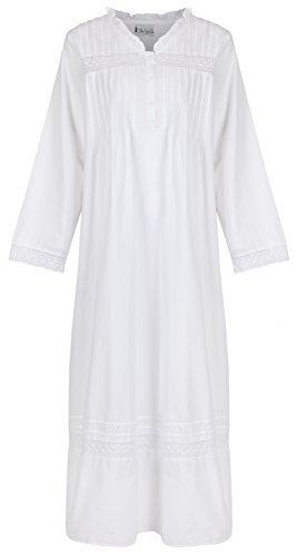 The 1 for U 100% Cotton Nightgown Vintage Design - Annabelle (XL) White]()