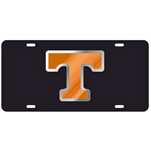 (Tennessee Volunteers Black Laser Cut License Plate - Orange & Mirror