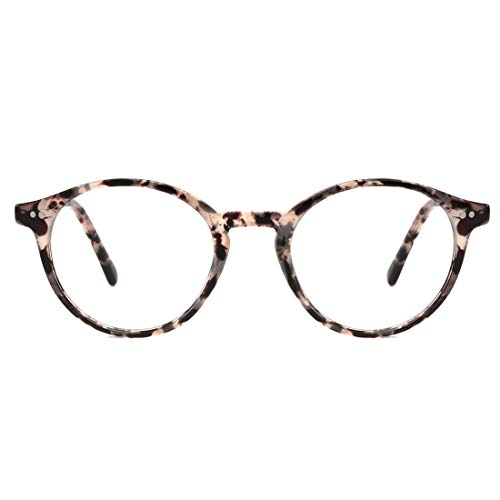 TIJN Blue Light Blocking Glasses Men Women Vintage Thick Round Rim Frame Eyeglasses (Marble)