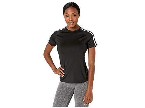 adidas Women's Designed 2 Move 3-Stripes Training Tee, Black/White, Large by adidas