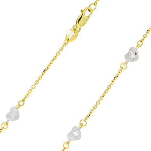 14k Yellow and White Gold Two-Tone Tiny Diamond-Cut Heart Station Anklet - 10'' by Beauniq