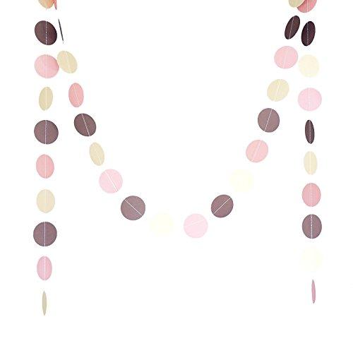 Chloe Elizabeth Circle Dots Paper Party Garland Backdrop (Pack of 4, 10 Feet Per Garland, Total 40 Feet) - Blush Pink, Ivory, Brown