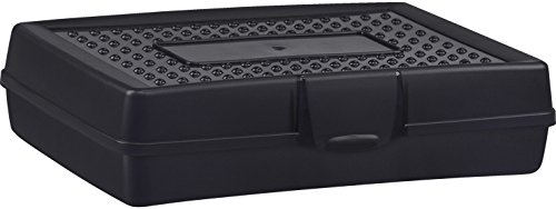 School Smart Large Plastic Pencil Box, Tint Black