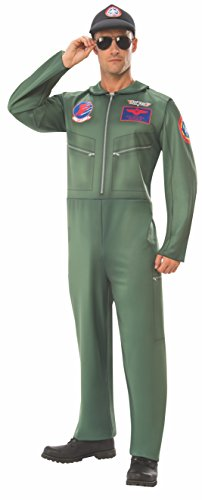 Rubie's Unisex-Adults (Classic Movie) Top Gun Costume Jumpsuit, As Shown, Standard - Top Gun Family Costume