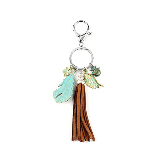 (Natural Opal Stone Dreamcatcher Keyring Bag Fashion Feather Keychain For Women,D15)