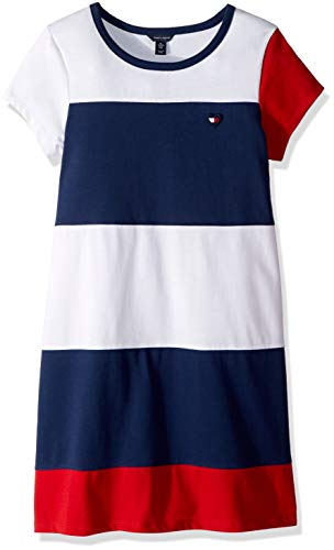 Tommy Hilfiger Big Girl's Big Girls' Colorblocked Dress Dress, jersey flag blue, Small 7