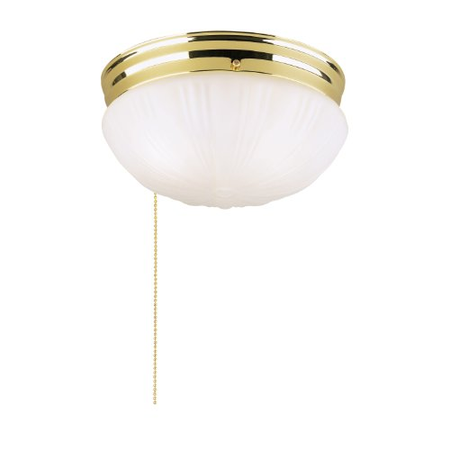 Polished Brass Pull Chain - Westinghouse Lighting 6721500 Two-Light Flush-Mount Interior Ceiling Fixture with Pull Chain, Polished Brass Finish with Frosted Fluted Glass