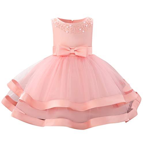 (Sunhusing Baby Sleeveless O-Neck Pearl Decor Bow High Waist Double-Tulle Gown Princess Tutu Dress)