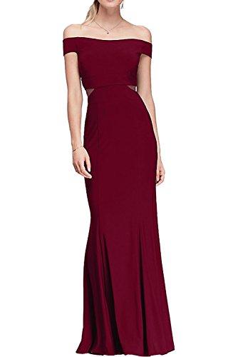 Ivydressing Damen 2017 Neu Etui bodenlang off the shoulder aermellos Satin Abendkleid Partykleid Ballkleid Weinrot kaWfesON3K