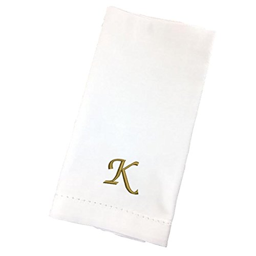 Qualibroid 4-Pack 100% Cotton Embroidered White Dinner Napkins - 20x20 - Hemstitched - Monogrammed - Gold Thread - Letter K