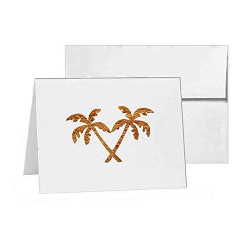 Island Palm Trees Crossed id 143 , Blank Card Invitation Pack, 15 cards at 4x6, Blank with White (143 Blank)