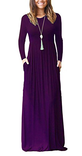 AUSELILY Women's Round Neck A-Line Casual Maxi Pocket Dresses for Party (S