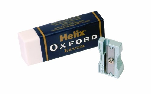 (Helix Oxford Large Sleeved Eraser and Single Metal Pencil Sharpener)