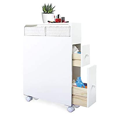 Jerry & Maggie - Bathroom Storage Closet Movable Organizer with 4 Wheels Beside Toilet Rack Multi Tier Accessory Sets Home Livingroom Space Saver Storage Stand Cabinet with Drawers & Units | MDF