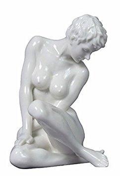 - 5.13 Inch Fine Porcelain Nude Female Statue Figurine Sitting, White