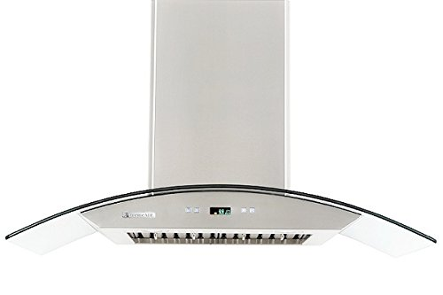 XtremeAir PX01-W36 900 CFM LED lights, Baffle Filters with Grease Drain Tunnel, 1.0mm Non-Magnetic Stainless Steel, 8.0mm Capony Temper Glass, Wall Mount Range Hood, 36''