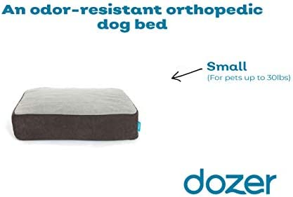 The Dozer Pet Bed Odor-resistant orthopedic dog bed Memory foam for joint relief and pet comfort. Machine wash, plush fabric S, M, L 3 colors