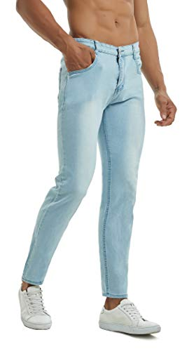 Qazel Vorrlon Slim Fit Jeans, Men's Skinny Fit Jeans Stretch Denim Jeans Pants Sky Blue