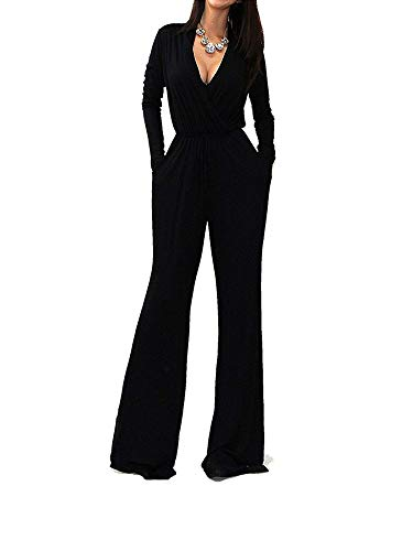 OURS Women's Sexy Deep V Neck Long Sleeve Wrap Wide Leg Jumpsuits Rompers with Pockets