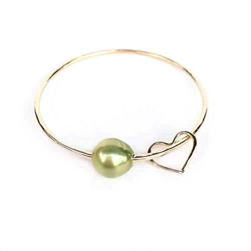 Pistachio Tahitian Pearl Aloha Bangle Bracelet, Pistachio Tahitian pearl bracelet, pearl bracelets for women, bangle bracelets for women, 14K Gold Filled, 14K Rose Gold Filled, Sterling Silver