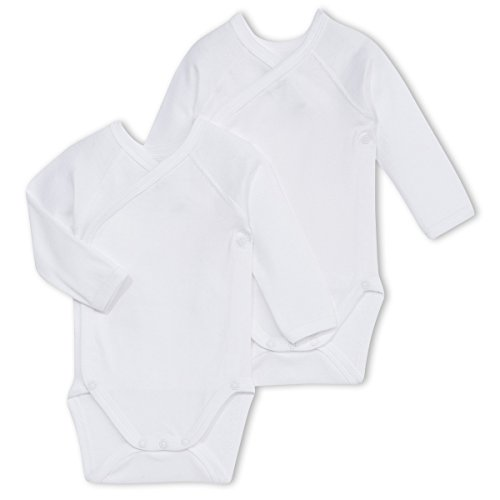 Petit Bateau Unisex Baby 2 Pack Long Sleeve Crossover Bodysuits, White, 12 Months ()