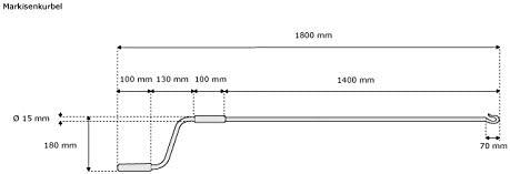 Manivelle ridige Marron-Brillante jarolift Manivelle compl/ète pour Store banne et volet Roulant 180 cm