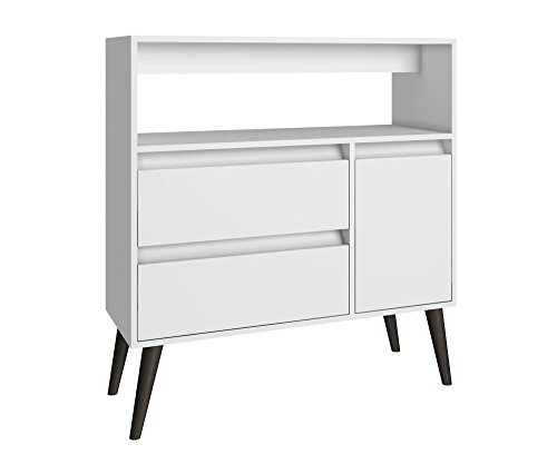 Manhattan Comfort Gota High Side Table Collection Multi Functional Modern Side Table / TV Stand with Storage, Includes 2 Drawers, 1 Door and 1 Shelf with Splayed Legs, White/Grey Legs