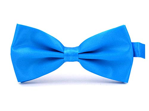 Taishenyuan Mens Classic Pre-Tied Satin Formal Tuxedo Bowtie Adjustable Length Large Many Colors Available (Lake blue)
