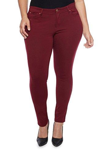 1826 Jack David Womens Plus Size Cotton Twill Stretch Skinny Pants (16, Burgandy/Wine)