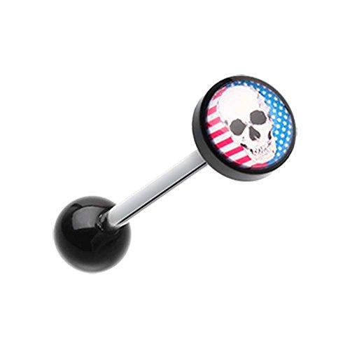 Skull Americana Logo Acrylic Barbell Tongue Ring - 14G (1.6mm) - Sold as a Pair