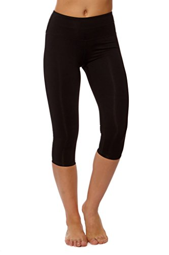 PRJON Form Fitting Leggings with Side Mesh and Double Band Capris Black L by PRJON