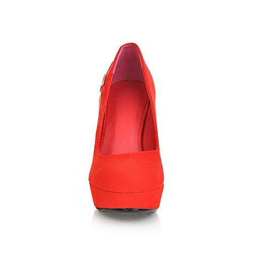 VogueZone009 Womens Closed Round Toe High Heel Platform Suede PU Frosted Solid Pumps with Metal, Red, 3.5 UK