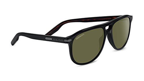 Serengeti Classic Modugno Sunglasses Satin Black, Green by Serengeti