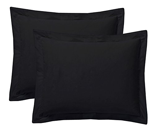 Today's Home Pillow Shams Soft Cotton Blend Tailored Classic Styling, Standard, Black (2 Pack) Black Standard Sham