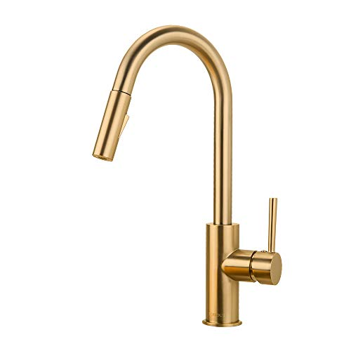 (Gold Kitchen Faucet with Pull Down Sprayer, Kitchen Faucet Sink Faucet with Pull Out Sprayer, Single Hole and 3 Hole Deck Mount, Single Handle Copper Kitchen Faucets, Champagne Bronze, FORIOUS )