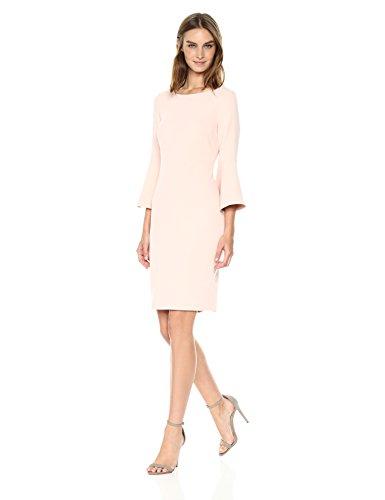 Calvin Klein Women's 3/4 Peplum Sleeve Sheath Dress, Blush, 8