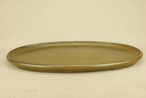 いよじ園 【水盤】 鴻陽作 蕎麦釉 袋式楕円水盤 (無傷)(大型サイズ 左右:55cm) B071KF2CLB
