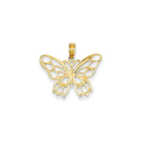 ICE CARATS 14kt Yellow Gold Butterfly Cut Out Pendant Charm Necklace Animal Fine Jewelry Ideal Gifts For Women Gift Set From Heart Pendant 14kt Yellow Gold Jewelry